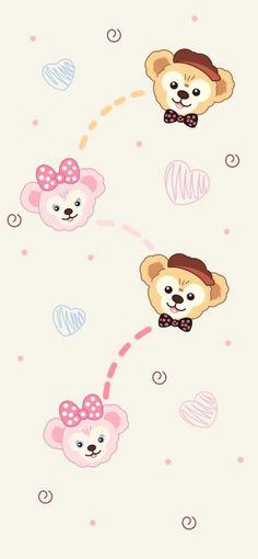 Cute Disney Wallpaper, Kawaii Wallpaper, Cute Cartoon Wallpapers, Bear Wallpaper, Iphone Wallpaper, Duffy The Disney Bear, Instagram Story Template, Chibi, Hello Kitty