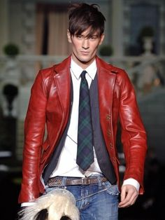 Red leather jacket. without the tie.