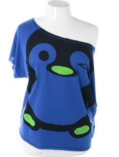 Plus Size Sexy Loose One Shoulder Penguin Blue Top, Plus Size Clothing, Club Wear, Dresses, Tops, Sexy Trendy Plus Size Women Clothes