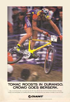 Classic Giant Ad. Super rare, Paul Tracy/Rock Shox pull shock bike that never made production