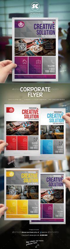 Corporate Flyer / Magazine Ads — Photoshop PSD #purple #yellow Corporate Flyer, Corporate Business, Print Templates, Design Templates, Office People, Business Flyer Templates, Magazine Ads, Blue Box, Advertising