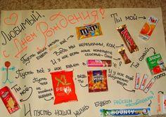 поздравление с днем рождения с конфетами и шоколадками