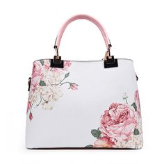 GSBK vintage women tote leather handbag luxury designer shoulder bags women's floral print handbag (pink) for sale Cute Handbags, Purses And Handbags, Leather Handbags, Designer Shoulder Bags, Popular Bags, Online Bags, Cross Body Handbags, Fashion Backpack, Totes