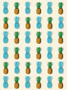 Blue Sky Pineapple Printed Background - 6235