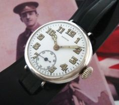 Men's 1917 Patria Trench Watch in Sterling Silver | Strickland Vintage Watches