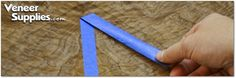 How to Remove Blue Tape from Veneer: Always remove the blue tape by pulling it at a low angle from the veneer face and at 45 degrees from the seam line as shown below.