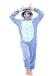 Yimidear® Unisex Cálido Pijamas para Adultos Cosplay Animales de Vestuario Ropa de dormir (M, azul Stitch)