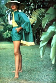 In an Australian garden Della Oake is wearing a three piece play suit photo Anthony Denney 1952