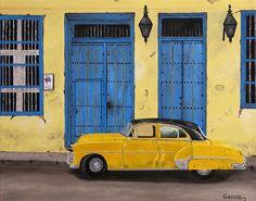 """Oil painting titled """"Cuba - Vintage Cuba - Santiago de Cuba"""", done on a 16"""" x 20"""" x 1.5"""" canvas.  SOLD"""