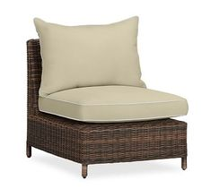 Torrey Sectional Armless, Left-Arm, & Right-Arm Cushion Slipcover, Sunbrella(R) Contrast Piped, Linen Sand