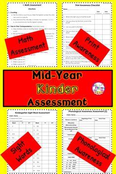 Kindergarten Assessment Beginning Of Year Mid Year End Of Year Kindergarten Assessment, Math Assessment, Kindergarten Lessons, Kindergarten Phonics, Preschool, Reading Resources, Reading Skills, Reading Activities, Elementary Teacher