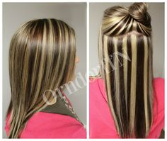 Dark Brown Hair With Blonde Highlights Double Foiled To