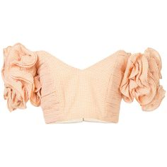 fb1d3c24a1f0f6 Alexander McQueen Off-the-shoulder matelassé cropped top ($1,185) ❤ liked  on Polyvore featuring tops, light pink, going out crop t…