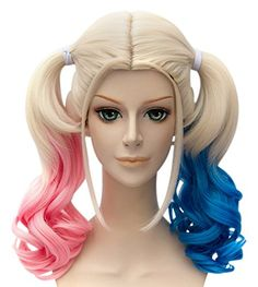 Probeauty Fancy Dress Curly Wavy Costume Wig Lolita Wigs BluePink >>> Want additional info? Click on the image.(This is an Amazon affiliate link)