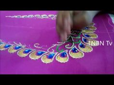 simple maggam work blouse designs | hand embroidery stitches for blouse, hand embroidery mirror work - YouTube