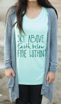 Items similar to Sky Above Earth Below Fire Within - Yoga Tank - Yoga Top - Yoga Clothes - Yoga - Graphic Tee - Graphic Tees For Women - Womens Graphic Tee on Etsy Womens Muscle Tank, Graphic Tees, Graphic Sweatshirt, Yoga Tank, Tees For Women, Fire, Earth, My Style, Sky