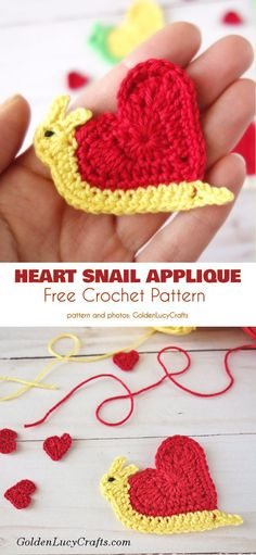 Heart Snail Applique Free Crochet Pattern Here is a quick little snail ;) just in time for Valentines. This beautiful little decoration or 'envelope stuffer' is a cute-as-heck easy project that Crochet Escargot, Crochet Snail, Crochet Mignon, Crochet Amigurumi, Crochet Toys, Crochet Animals, Crochet Applique Patterns Free, Crochet Motifs, Crochet Flower Patterns