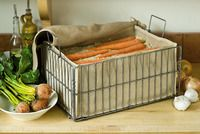 Root Vegetable Storage Bin.  Must sew some jute liners for my old wire chest freezer baskets.  You can always find these in peoples garbage