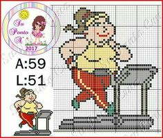 Academia - malhar - exercício - corrida - esteira Cross Stitch Cards, Cross Stitching, Cross Stitch Embroidery, Cross Stitch Patterns, Loom Patterns, Beading Patterns, Embroidery Patterns, Hama Beads, Tissue Box Covers