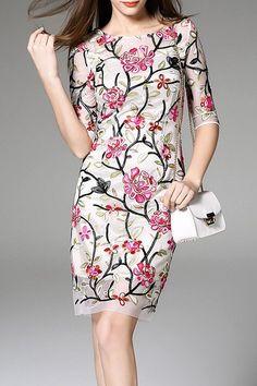 flower embroidered mesh dress
