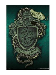 The eerie crest of Slytherin is portrayed in crisp jade tones in the Trends International Harry Potter Slytherin Snake Wall Poster . A sleek serpent. Harry Potter Poster, Slytherin Harry Potter, Slytherin House, Slytherin Pride, Harry Potter Houses, Hogwarts Houses, Casas Do Harry Potter, Casas Estilo Harry Potter, Draco Malfoy Aesthetic