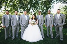 Bride and groomsmen, plus size bride