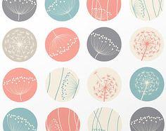 Printable: digital collage sheet 1.5 inch DANDELIONS circles pink patterns for pendants, bottle caps, paper craft, circle collage sheet