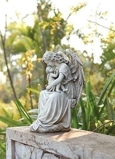 Elegant Guardian Angel Holding Baby Memorial Garden Or Miscarriage Gift. Loving  Angel Holding Little Baby.