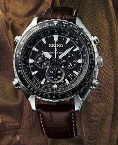 "Featuring design cues similar to other ""aviators"" released by the Japanese brand during the last five or six years (those including not only relatively Gucci Men, Burberry Men, Seiko Solar, Orient Watch, Tom Ford Men, Mens Watches Leather, Leather Watch Bands, Calvin Klein Men, Seiko Watches"