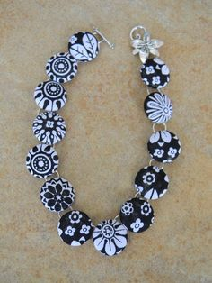 Fabric Button Necklace - Black/White Flowers