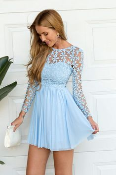 light blue long sleeve dress