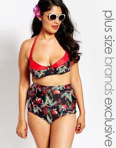 Image 1 ofBig Guns for ASOS Bustier Halter Bikini Top