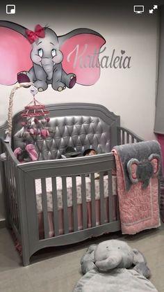 Pin by baby bedding set by zoap on beautiful nursery baby gi Dumbo Nursery, Baby Nursery Themes, Baby Room Decor, Elephant Nursery Girl, Nursery Ideas, Room Ideas, Baby Elefant, Baby Bedroom, Baby Rooms