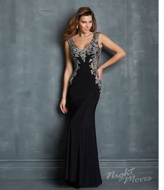 Night Moves by Allure 2014 Prom Dresses - Black Jersey & Crystal Beading Illusion Prom Gown - Unique Vintage - Prom dresses, retro dresses, retro swimsuits.