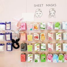 Sheet mask wall at the event of Bearel. Best Makeup Brushes, Best Makeup Products, Sheet Mask, Skincare, Gucci, Holiday Decor, Wall, Skincare Routine, Skins Uk