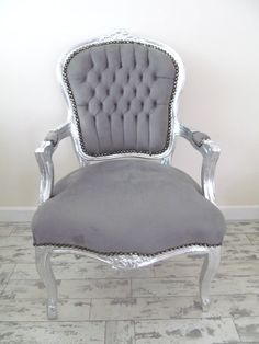 Grey French Shabby Chic Silver Louis Armchair Salon by LylaRoze @mariadp26 THIS is awesome