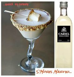 1oz. chocolate vodka, 1oz. Baily's Irish Cream, 1oz. chocolate liquor, 1oz. Cream de Cacao, 1oz. vanilla vodka – OUR CHOICE OF VODKA CARIEL VANILLA, 2oz. heavy cream, Toasted marshmallows, graham crackers (crushed), chocolate syrup, bamboo Martini skewers.