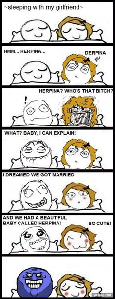 Ooof the rage comic is cringey as is and then you have this Rage Comics, Derp Comics, Funny Comics, Funny Meme Pictures, Funny Images, Cereal Guy, Troll Face, We Get Married, Funny Pins