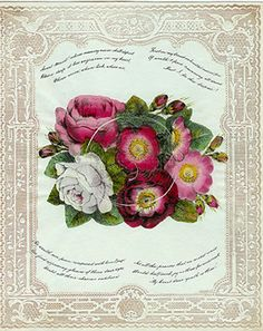 """Cobweb: Hand-colored lithograph on Burke embossed cameo lace paper.   England, circa 1840s. 8"""" x 10""""   The delicate silk thread is gently lifted from its bed of roses to reveal a superb cutwork cobweb containing a painted image and a message.   A secret token -- a lock of hair or even a ring, might be secreted within its' web. The moss rose signifies """"superior merit"""" -- as would be expected of the recipient of such a valuable treasure"""