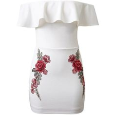 White Off Shoulder Ruffle Embroidery Floral Patch Bodycon Dress (49 CAD) ❤ liked on Polyvore featuring dresses, bodycon dress, vestidos, white bodycon dress, off shoulder dress, off-the-shoulder ruffle dresses and body con dresses