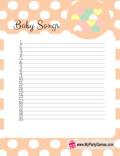 Free Printable Baby Songs Game Card with Polka Dots in Orange Color