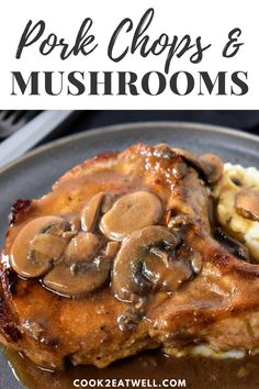 In this recipe thick pork chops are fried until golden then theyre covered with a luxurious mushroom sauce. Serve the pork chops with fluffy mashed potatoes for a delicious satisfying meal. Pork Chops And Gravy, Mushroom Pork Chops, Baked Pork Chops, Mushroom Sauce, Pork Chops With Mushrooms, Easy Pork Chop Recipes, Pork Recipes, Chicken Recipes, Cooking Recipes