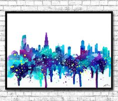 Chicago Watercolor Print, City Skyline, Chicago Watercolor, City Watercolor, City Silhouette, Wall Hanging,Home Decor, Giclee Wall Art DIVERGENT