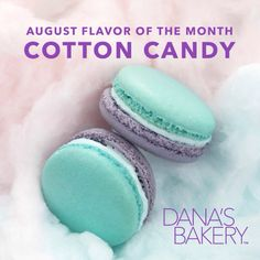 Sweet but not as sticky... Meet our August flavor of the month COTTON CANDY! #macaron #glutenfree #nationwidedelivery #dessert #danasbakery