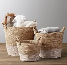 Banded Seagrass Basket RHBABY&CHILD, storage baskets for nursery, toddler room, kids room Luxury Nursery, Coastal Nursery, Rustic Nursery, Nautical Nursery, Seagrass Storage Baskets, Woven Baskets, Toy Storage Baskets, Storage Ideas, Restoration Hardware Baby