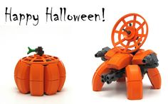 "https://flic.kr/p/h9jGWb | Pumpkinbot | The dish assembly sits loose in pumpkin form and has to be connected in bot form, but otherwise it can transform without having to take apart any pieces.  Happy Halloween!  <a href=""http://www.flickr.com/photos/cmaddison/10601306324/"">Build your own.</a>"