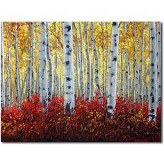 'Sunlit Rubies' - aspen paintings birch art, painting by artist Jennifer Vranes