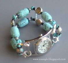 T-Rock  US $12.00    Beautiful turquoise dyed howlite beads are complimented by silver and black for a  natural southwestern look.  This band will surely make a statement without being overly chunky or heavy on your wrist.  It is the perfect match to our T-Rock necklace!  Shown here with the Open Face Round watch face (sold separately).              All of my WATCH BANDS are my own one of a kind creations. They come in 5 basic sizes to fit your individual wrist. When ordering your watch…