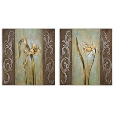 Layered Floral I II: 19.5 x 20.875 Oil Painting Reproduction