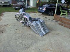 "Custom Bike With Our 8"" Set Harley Saddlebags & Fender"